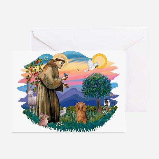 St Francis #2/ Dachshund (LH S) Greeting Cards (Pk