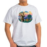 St Francis #2/ Dachshund (LH S) Light T-Shirt