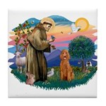 St Francis #2/ Poodle (Std-Ap) Tile Coaster