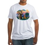 St Francis #2/ Poodle (Std-Ap) Fitted T-Shirt