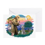 St Francis #2/ Poodle (Std S) Greeting Cards (Pk o