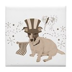 Patriotic Jack Russell with Flag (Vintage) on Tile