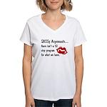 SASSy Argeneauts shirt black ltrs - Women's v-neck