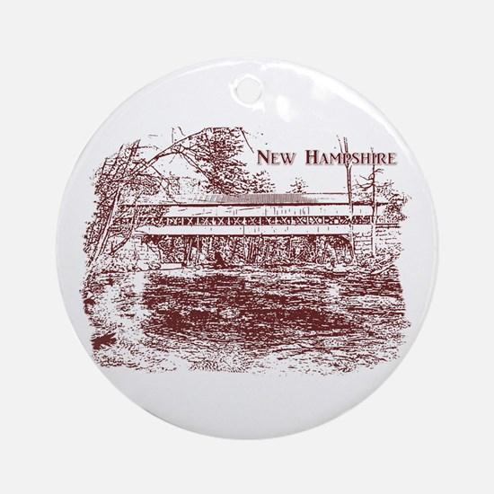 Swift River Covered Bridge Ornament (Round)