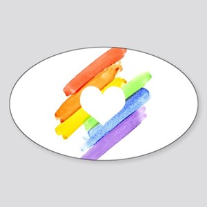 Rainbow Watercolor Open Heart Sticker