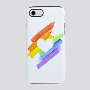 Rainbow Watercolor Open Heart iPhone 7 Tough Case