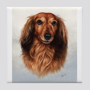 Dachshund Red Longhair 1 Tile Coaster