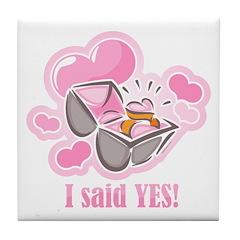Heart Ring I Said Yes Tile Coaster