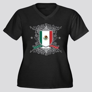 Mexico Shield Women's Plus Size V-Neck Dark T-Shir