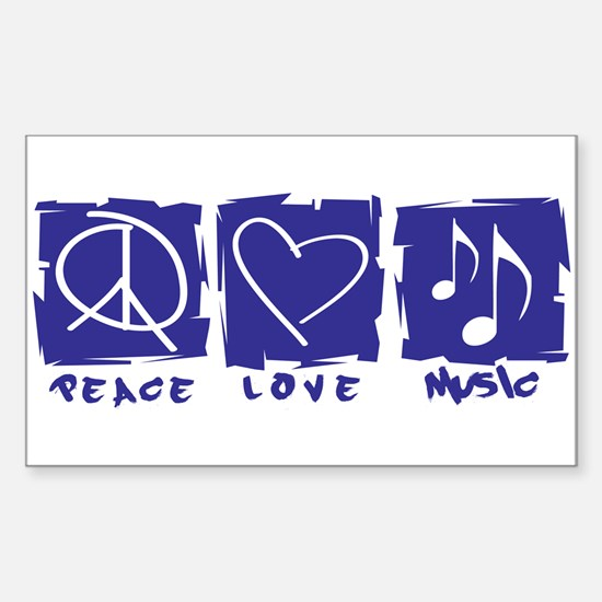 Peace.Love.Music Sticker (Rectangle)
