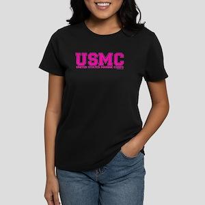 USMC Varisty PINK Women's Dark T-Shirt