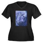 Leo Women's Plus Size V-Neck Dark T-Shirt