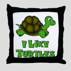 I Like Turtles Throw Pillow