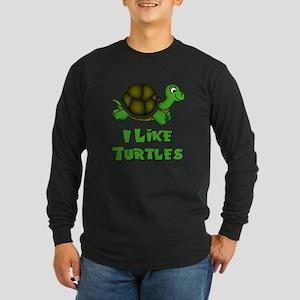 I Like Turtles Long Sleeve Dark T-Shirt