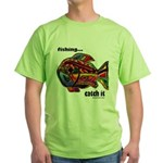 Men's Funny Fishing Green T-Shirt