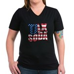Tax Soda! Women's V-Neck Dark T-Shirt