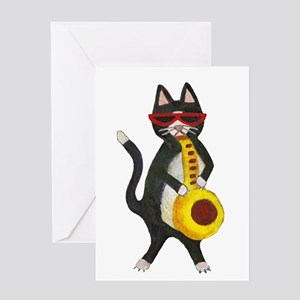 Cat and Saxophone Greeting Card