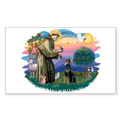 St Francis #2/ Dobie (cropped) Sticker (Rectangle)