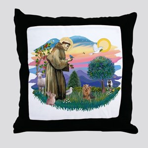St Francis #2/ Yorkie #7 Throw Pillow