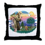 St Francis #2/ Yorkie #7 Throw Pillow