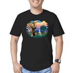 St Francis #2/ Dalmatian Men's Fitted T-Shirt (dar