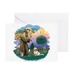 St Francis #2/ Tibetan Terrier Greeting Cards (Pk