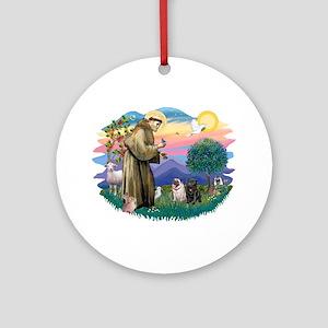 St Francis #2/ Pugs (blk&f) Ornament (Round)