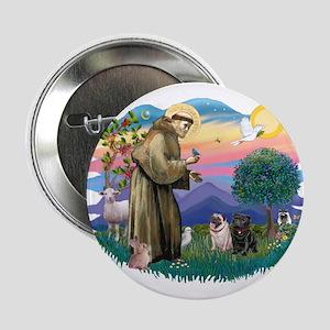 "St Francis #2/ Pugs (blk&f) 2.25"" Button"
