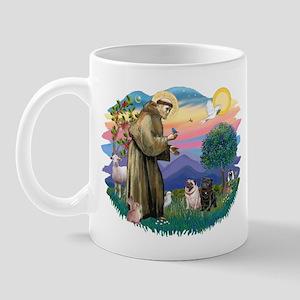 St Francis #2/ Pugs (blk&f) Mug