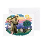 St Francis #2/ Pugs (blk&f) Greeting Cards (Pk of
