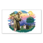 St Francis #2/ Pugs (blk&f) Sticker (Rectangle)