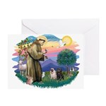 St Francis #2/ Pugs (blk&f) Greeting Card