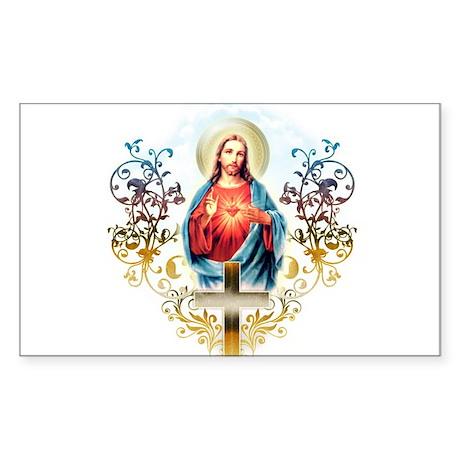 Sacred Heart of Jesus Sticker (Rectangle)