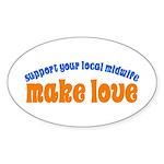 Make Love - Sticker (Oval)