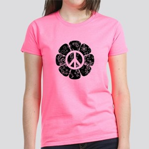 Peace Symbol Flower Women's Dark T-Shirt