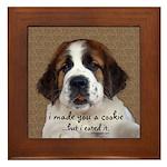 St Bernard Puppy Cookie Framed Tile