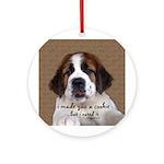 St Bernard Puppy Cookie Ornament (Round)