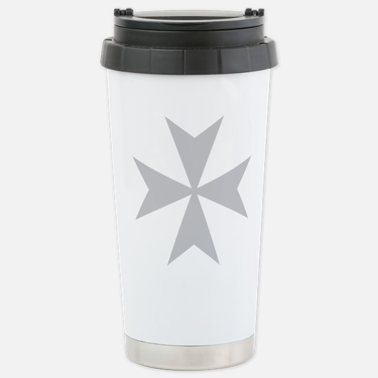 Silver Maltese Cross Stainless Steel Travel Mug