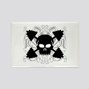 Weightlifting Skull Rectangle Magnet