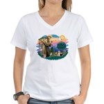 St Francis #2/ Silkies (2) Women's V-Neck T-Shirt