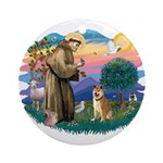 St Francis #2/ Shiba Inu Ornament (Round)