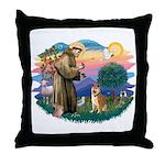 St Francis #2/ Shiba Inu Throw Pillow