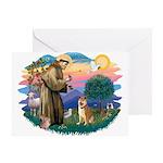 St Francis #2/ Shiba Inu Greeting Card