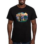St Francis #2/ Shiba Inu Men's Fitted T-Shirt (dar