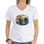 St Francis #2/ Shiba Inu Women's V-Neck T-Shirt