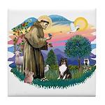 St Francis #2/ Sheltie (tri) Tile Coaster