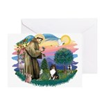 St Francis #2/ Sheltie (tri) Greeting Card