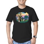 St Francis #2/ Sheltie (tri) Men's Fitted T-Shirt