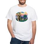St Francis #2/ Sheltie (tri) White T-Shirt