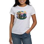 St Francis #2/ Sheltie (tri) Women's T-Shirt